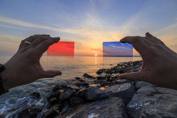 How to red and blue filter effects the image, reverse light image and very shallow depth of field