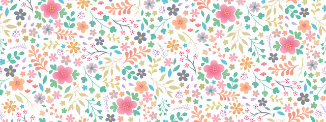 Beautiful and bright spring colorful Pastel flowers, leaves, twigs. Pattern