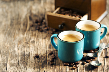 Two cups of coffee. Espresso
