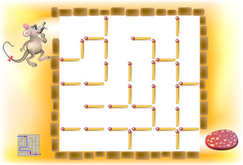 Logic puzzle with labyrinth - need to remove three matchsticks so that the mouse could walk till the sausage.  Vector image.