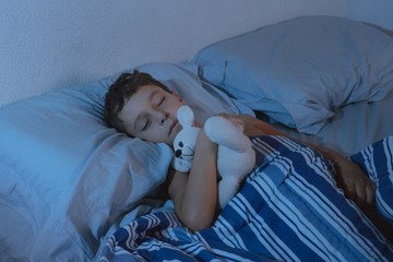Portrait of a little boy sleeping with teddy bear in the bedroom
