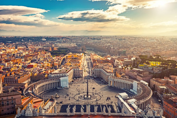 Stores photo Rome Saint Peter's Square in Vatican and aerial view of Rome