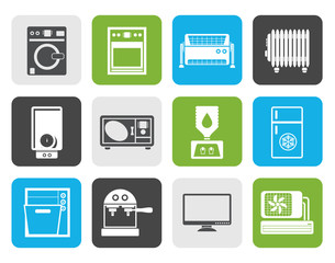 Flat Home electronics and equipment icons - vector icon set
