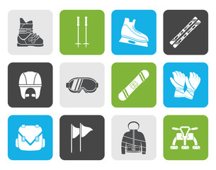 Flat ski and snowboard equipment icons - vector icon set