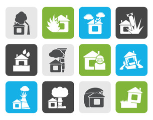 Flat home and house insurance and risk icons - vector icon set