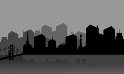 Gray silhouette city