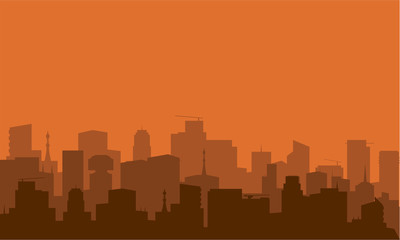 silhouette of city with brown color