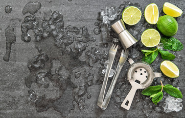Cocktail drink making tools and ingredients ice