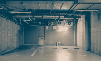 Indoor or underground car park at modern building..