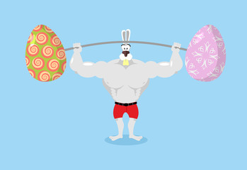 Strong rabbit holding barbell and Easter eggs. Sports for Hare.