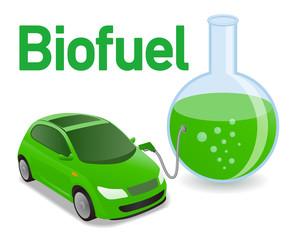 Biomass fuel made by algae, diagram illustration