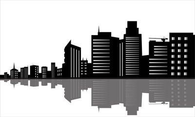 Silhouette of office buildings