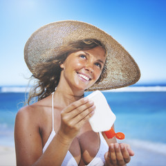Smiling Woman At The Beach Relaxation Concept