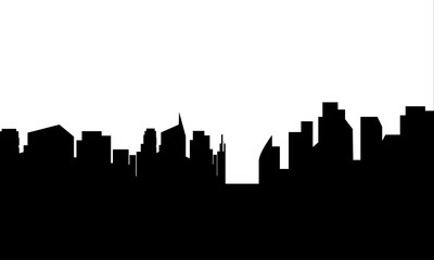 Silhouette of black white buildings