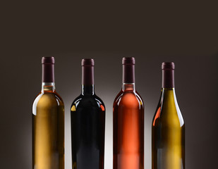 Wine Bottles With No Labels Closeup