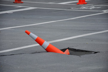 typical road damage from the February 22, 2011 Earthquake in Christchurch, New Zealand