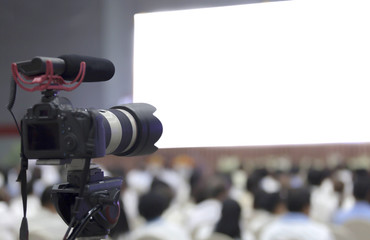 DSLR camera recording video and the copyspace  of screen on the stage