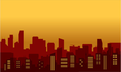Silhouette of luxury buildings