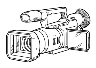 TV Camera Doodle, a hand drawn vector doodle illustration of a TV camera for professional broadcast use.