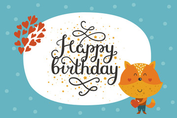 Cute happy birthday animal card