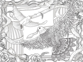 white pigeons coloring page