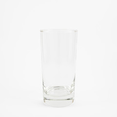 The close up of clean empty tall glass.