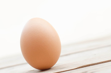 Close up egg on the wood and white background with clipping path