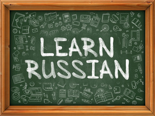 Green Chalkboard with Hand Drawn Learn Russian with Doodle Icons Around. Line Style Illustration.