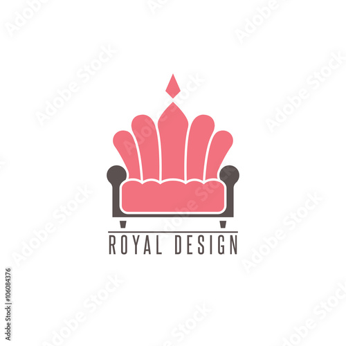 Furniture Logo Sofa Interior Design Creative Mockup Emblem Shape Crown Comfort Divan Icon