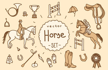 Horse equipment vector icon set line hand drawing template