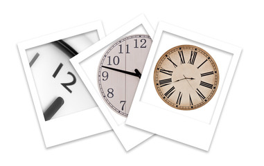 Tree Polaroid Photos of Clocks