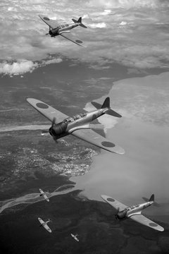 Japanese airforce World War 2 over Papua New Guinea.
