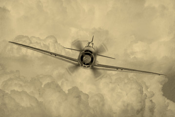 'Vintage style' image of World War 2 era fighter plane known as 'Geroge' by the allies.