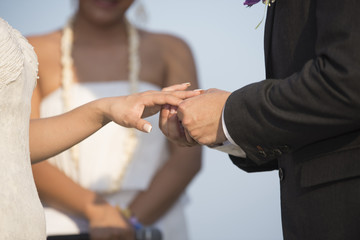 Blurred Groom Put the Wedding Ring on bride