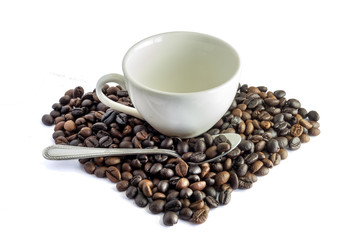 espresso cup with coffee beans, isolated on white background