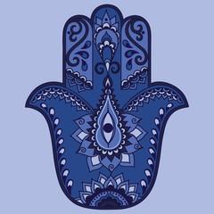 Color vector hamsa hand drawn symbol.