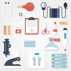 Medical supplies in flat style on gray background