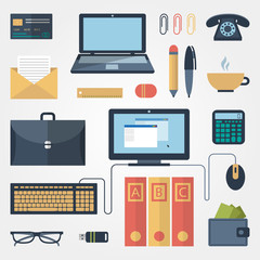 Office supplies in flat style on gray background
