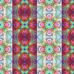 Two-tone seamless flower pattern in stained-glass window style.