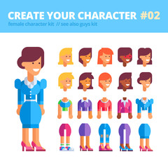 Female character creation kit. Set of replaceable parts for creating your unique feminine character. See also guys kit. Vector illustration.