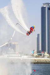Printed roller blinds Water Motor sports Extreme sportsman on flaybord performs tricks in the competitions in extreme sports in Dubai,UAE