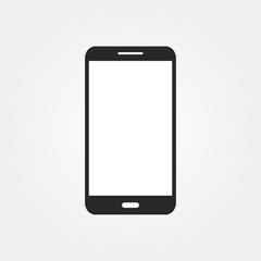 Phone Icon in flat style on grey background