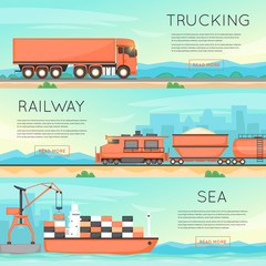 Cargo transportation by road, train, and ship. Logistic concept, cargo transportation, freight. Flat vector web banners.