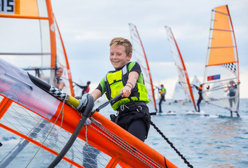 boy on windsurfing