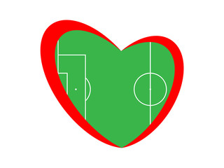 Symbol of the heart and football field on the white background