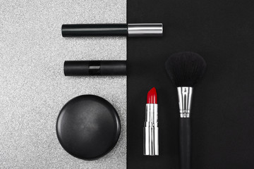 Stark contrast in make up arranged in studio