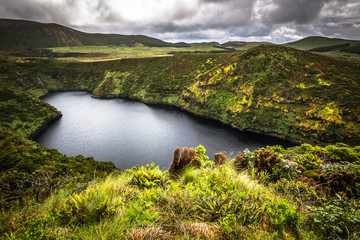 Azores landscape with lake in Flores island. Caldeira Funda. Por