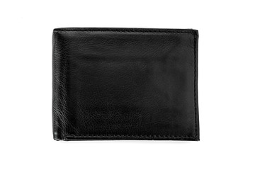 Black wallet on white background