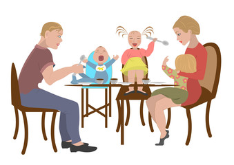 family eats in a restaurant. Vector illustration. eps10