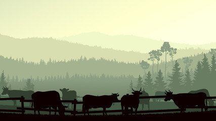 Horizontal illustration of farm pets in background wooded hills.